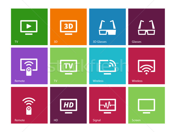 TV icons on color background. Vector illustration. Stock photo © tkacchuk