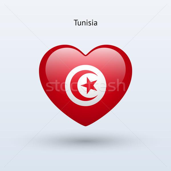 Love Tunisia symbol. Heart flag icon. Stock photo © tkacchuk