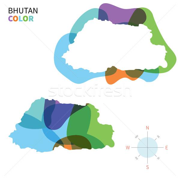 Abstrato vetor cor mapa Butão transparente Foto stock © tkacchuk