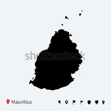 High detailed vector map of Saint Lucia with navigation pins. Stock photo © tkacchuk