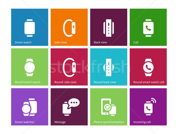 Smart gadget hand iconen kleur telefoon Stockfoto © tkacchuk