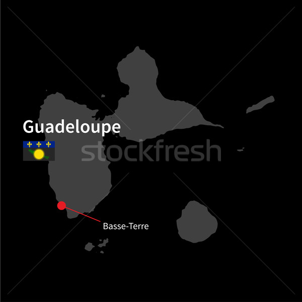 Detailed map of Guadeloupe and capital city Basse-Terre with flag on black background Stock photo © tkacchuk