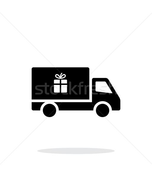 Stock fotó: Teherautó · ajándék · egyszerű · ikon · fehér · internet