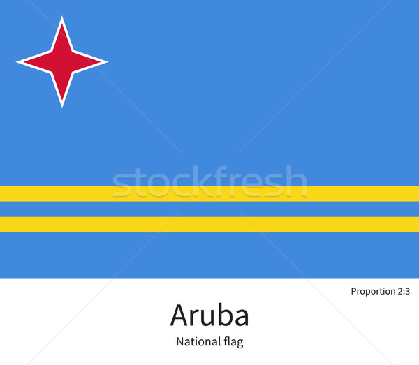 National flag of Aruba with correct proportions, element, colors Stock photo © tkacchuk