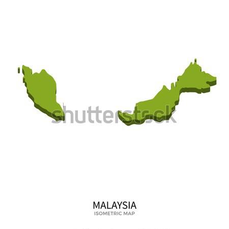 アイソメトリック 地図 マレーシア 詳しい 孤立した 3D ストックフォト © tkacchuk