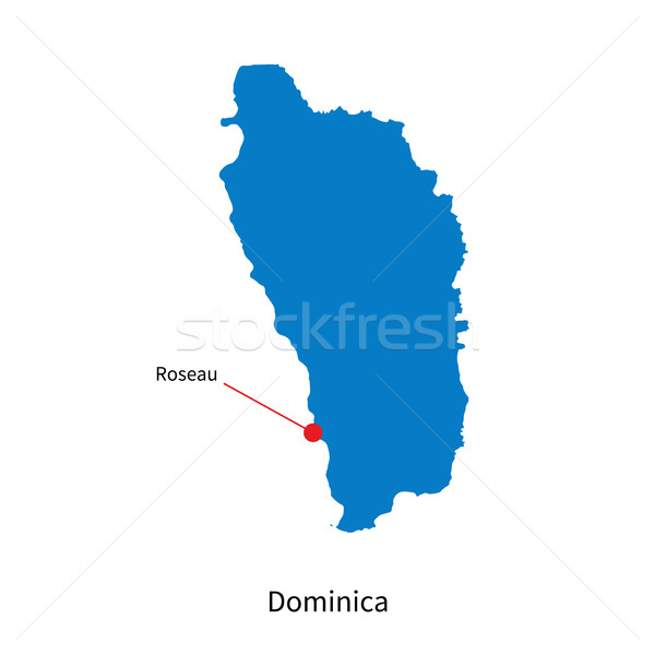 Detailed vector map of Dominica and capital city Roseau Stock photo © tkacchuk