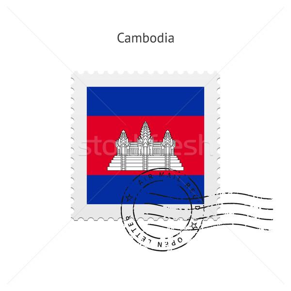 Камбоджа флаг почтовая марка белый знак письме Сток-фото © tkacchuk
