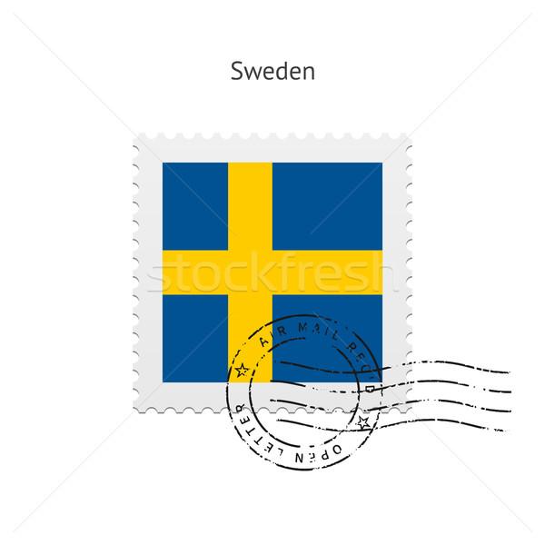 Svédország zászló postabélyeg fehér felirat levél Stock fotó © tkacchuk