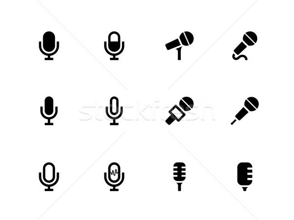Foto d'archivio: Microfono · icone · bianco · tecnologia · radio · suono