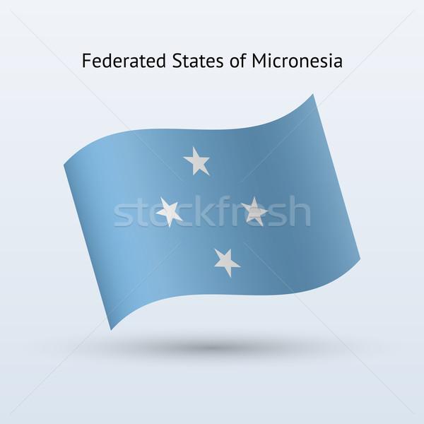 Micronésia bandeira forma cinza assinar Foto stock © tkacchuk
