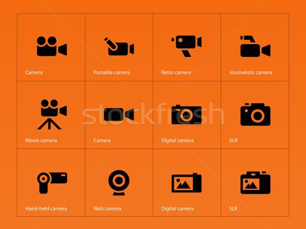 Camera icons on orange background. Stock photo © tkacchuk