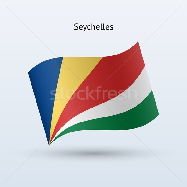 Seychelles flag waving form. Vector illustration. Stock photo © tkacchuk