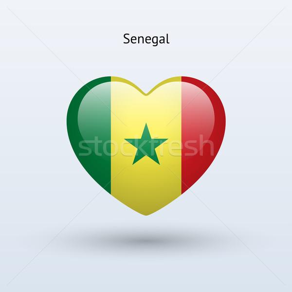 Miłości Senegal symbol serca banderą ikona Zdjęcia stock © tkacchuk