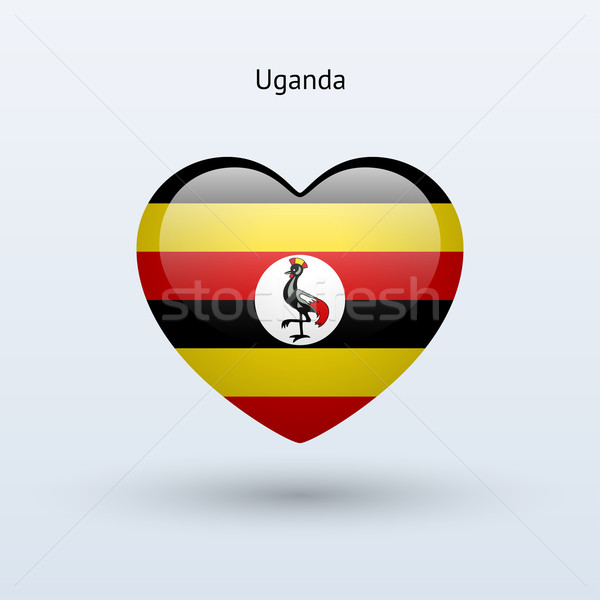 Amour Ouganda symbole coeur pavillon icône Photo stock © tkacchuk