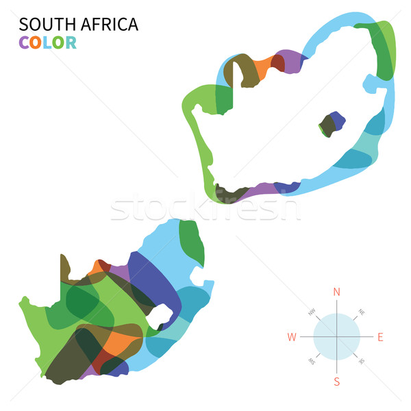 Abstract vector color map of South Africa with transparent paint effect. Stock photo © tkacchuk