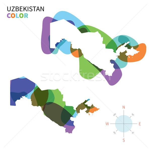 Absztrakt vektor szín térkép Üzbegisztán átlátszó Stock fotó © tkacchuk