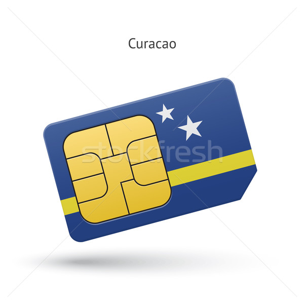 Curacao mobile phone sim card with flag. Stock photo © tkacchuk