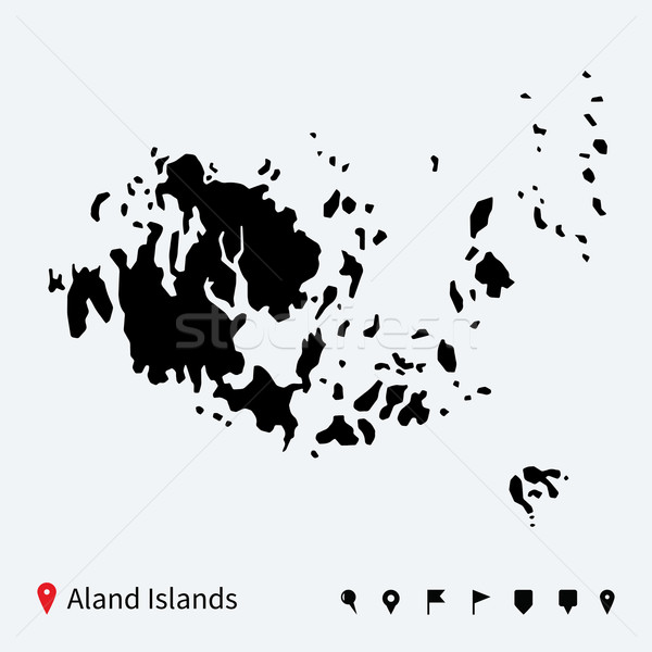 High detailed vector map of Aland Islands with navigation pins. Stock photo © tkacchuk