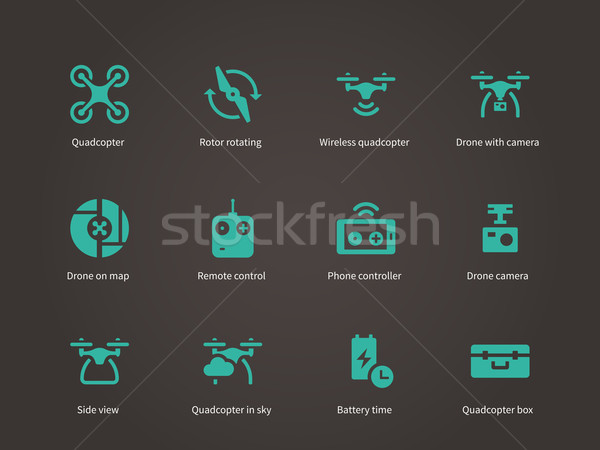 New technologies flying drone icons set. Stock photo © tkacchuk