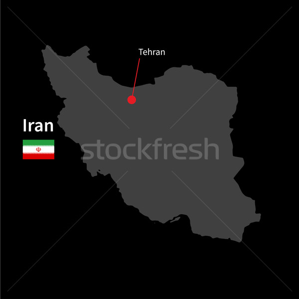 Stock photo: Detailed map of Iran and capital city Tehran with flag on black background