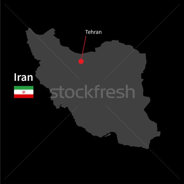 Részletes térkép Irán város Teherán zászló Stock fotó © tkacchuk