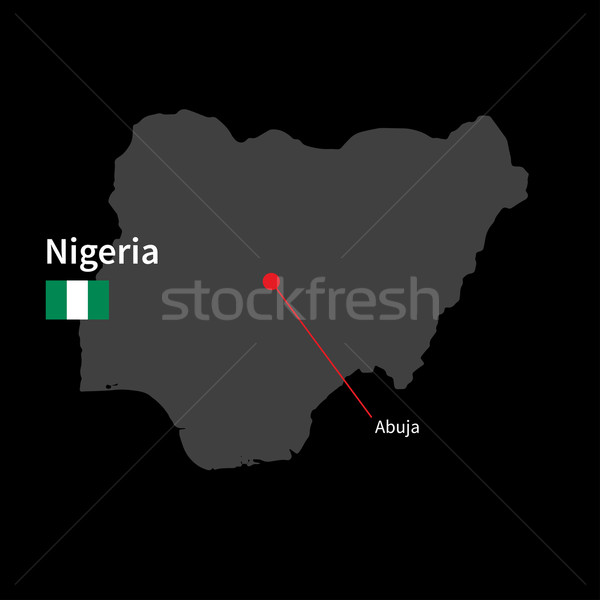 Detailed map of Nigeria and capital city Abuja with flag on black background Stock photo © tkacchuk