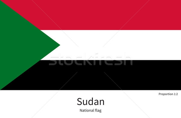 National flag of Sudan with correct proportions, element, colors Stock photo © tkacchuk