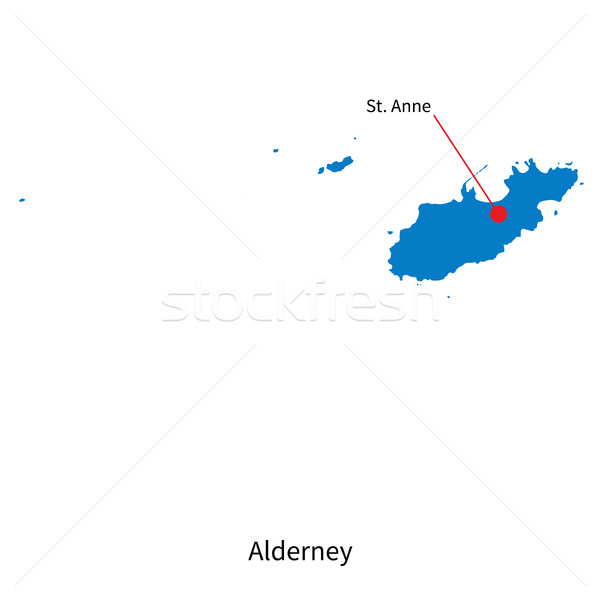Detailed vector map of Alderney and capital city St. Anne Stock photo © tkacchuk