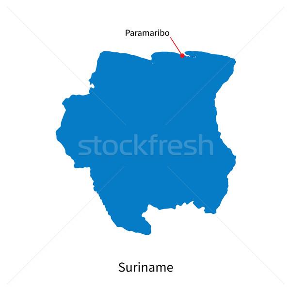 Сток-фото: подробный · вектора · карта · Суринам · город · синий