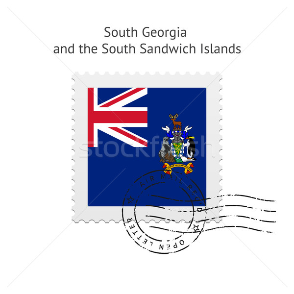 Dél Grúzia szendvics szigetek zászló postabélyeg Stock fotó © tkacchuk