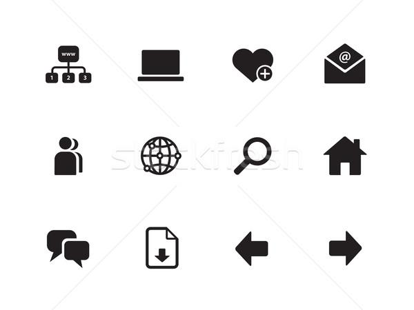 Sieci ikona biały działalności laptop technologii Zdjęcia stock © tkacchuk