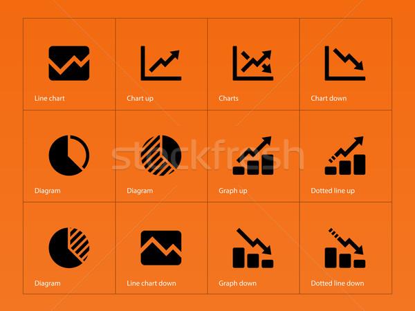 Lijn grafiek diagram iconen oranje business Stockfoto © tkacchuk
