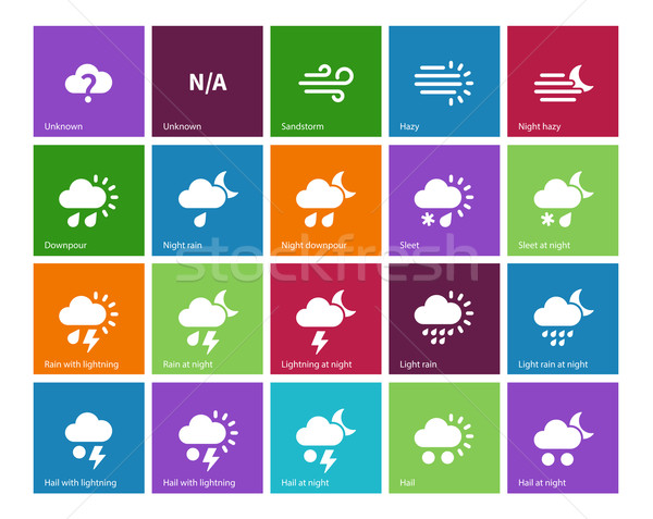Weather icons on color background. Stock photo © tkacchuk