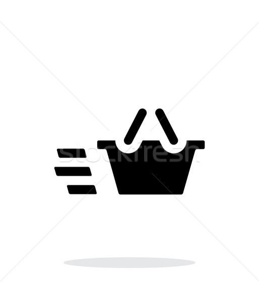 Cesta simple icono blanco negocios mano Foto stock © tkacchuk