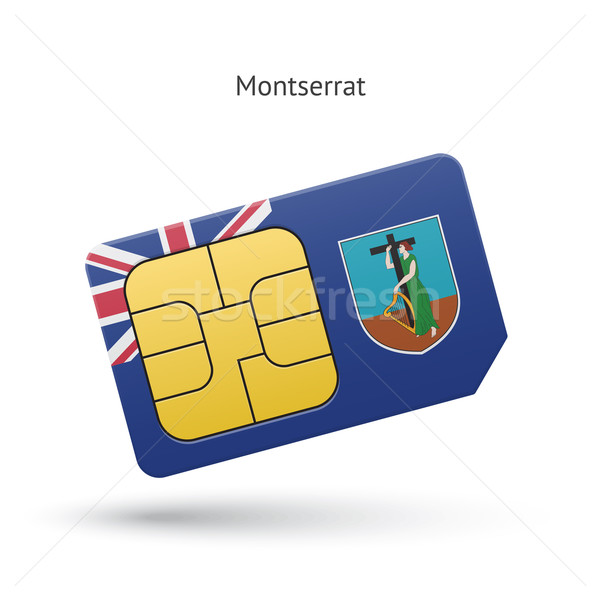 Montserrat mobile phone sim card with flag. Stock photo © tkacchuk