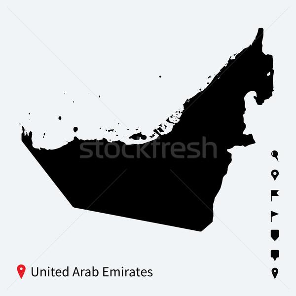 Alto detalhado vetor mapa Emirados Árabes Unidos navegação Foto stock © tkacchuk