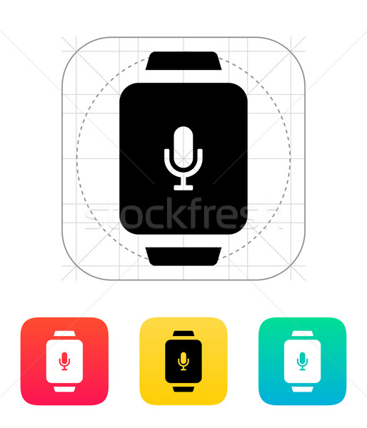 Mikrofon akıllı izlemek ikon saat spor Stok fotoğraf © tkacchuk