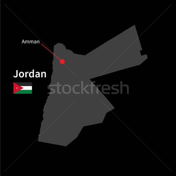 Detailed map of Jordan and capital city Amman with flag on black background Stock photo © tkacchuk