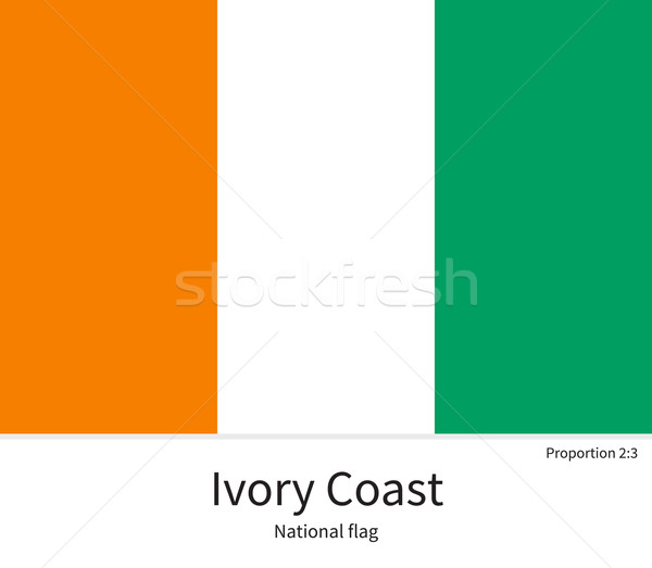 National flag of Ivory Coast with correct proportions, element, colors Stock photo © tkacchuk