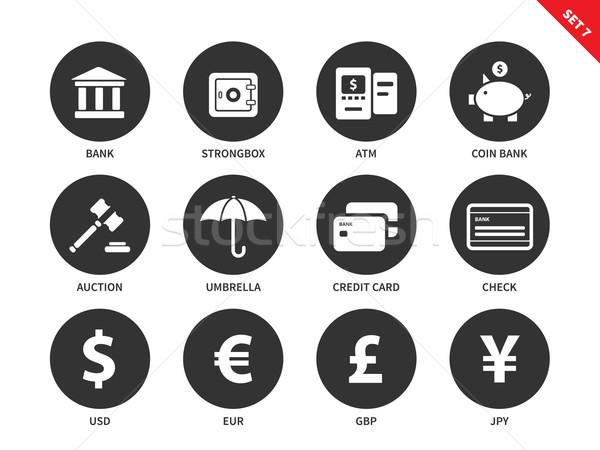 Banking and business icons on white background Stock photo © tkacchuk
