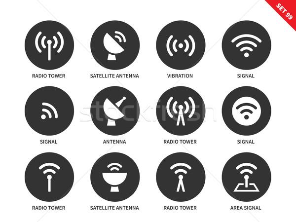 радио башни иконки белый вектора Сток-фото © tkacchuk