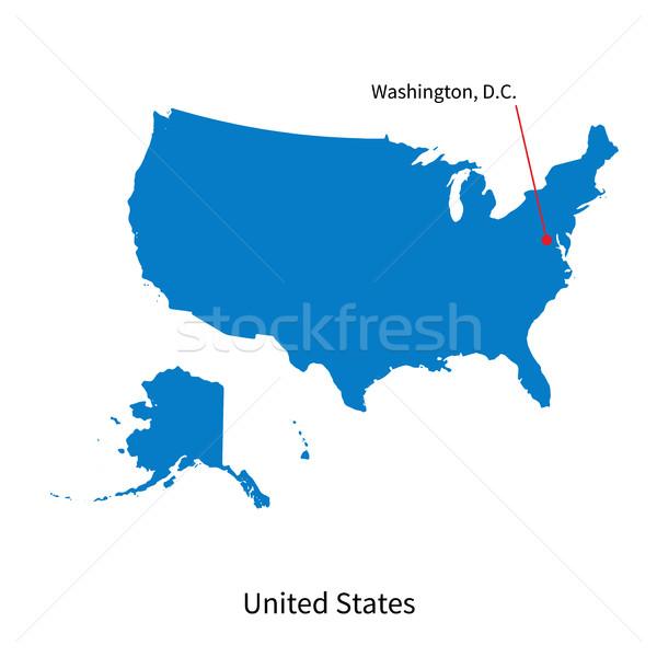 Dettagliato vettore mappa Stati Uniti città Washington Foto d'archivio © tkacchuk