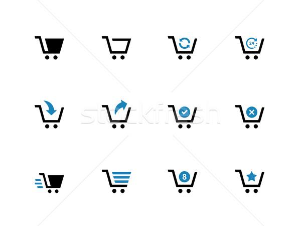 Shopping cart duotone icons on white background. Stock photo © tkacchuk