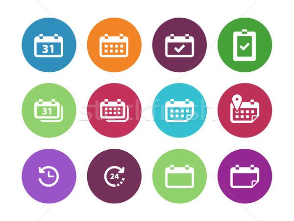 Kalender cirkel iconen witte vergadering grafische Stockfoto © tkacchuk