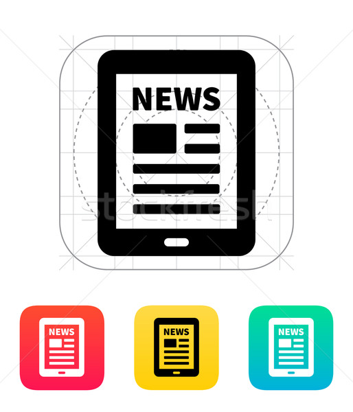 Tablet PC newspaper icon. Stock photo © tkacchuk