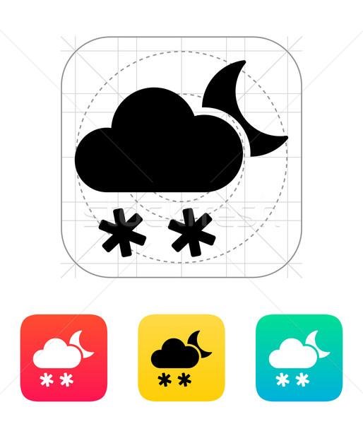 Gece kar yağışı hava durumu ikon gökyüzü dizayn Stok fotoğraf © tkacchuk