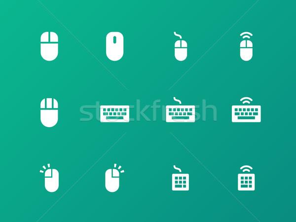 Egér billentyűzet ikonok zöld iroda terv Stock fotó © tkacchuk