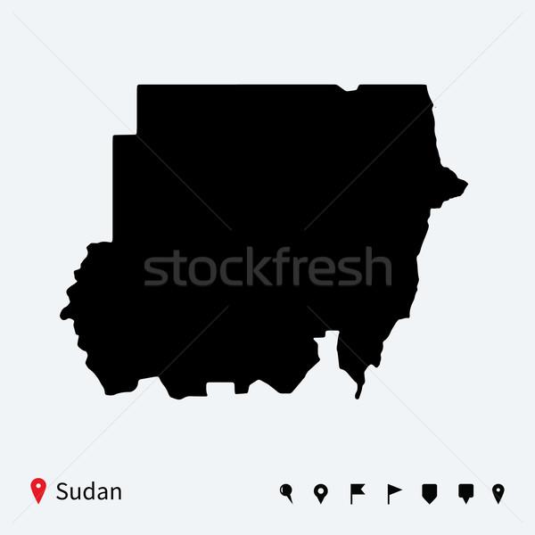 Magas részletes vektor térkép Szudán navigáció Stock fotó © tkacchuk