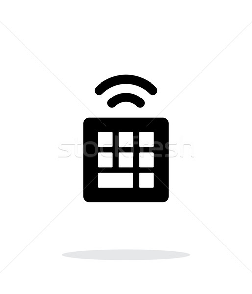 Stock photo: Wireless small keyboard icon on white background.