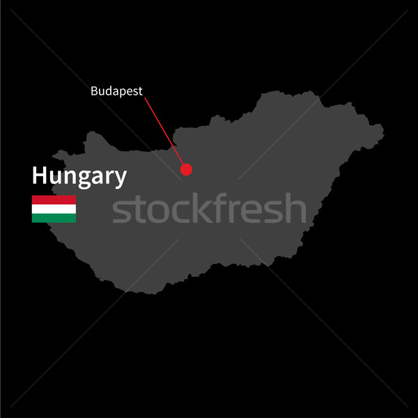 Detailed map of Hungary and capital city Budapest with flag on black background Stock photo © tkacchuk